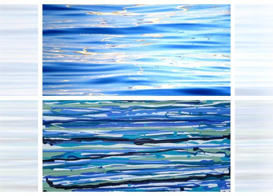 למעלה: צילום של הים. למטה: ציור של הים. עבודה: איריס עשת כהן.