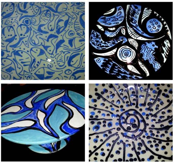 עבודות קרמיקה שלי עם מוטיבים מהים, וכמובן - הצבע הכחול הדומיננטי.